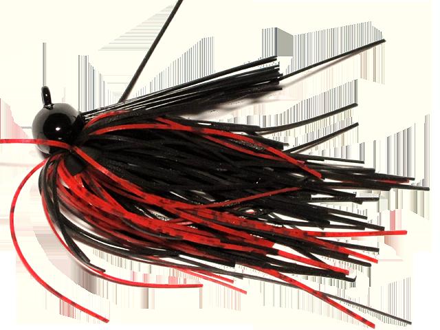 Old Jiggers Copperhead Weedless Football Jig - Black Red